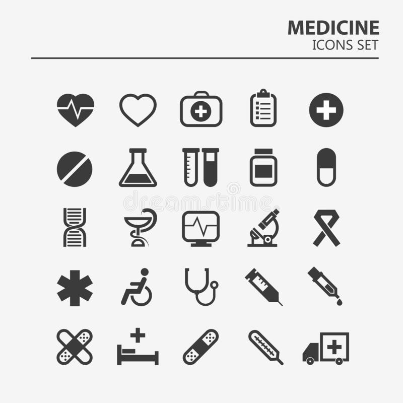 Medical icon set. 25 Silhouette hospital vector signs. Medicine design. Web ambulance infographics icons. Illustrator vector design stock illustration