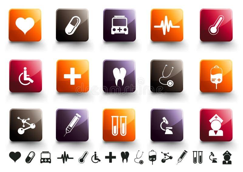 Medical Icon Set | Warm High Gloss royalty free illustration