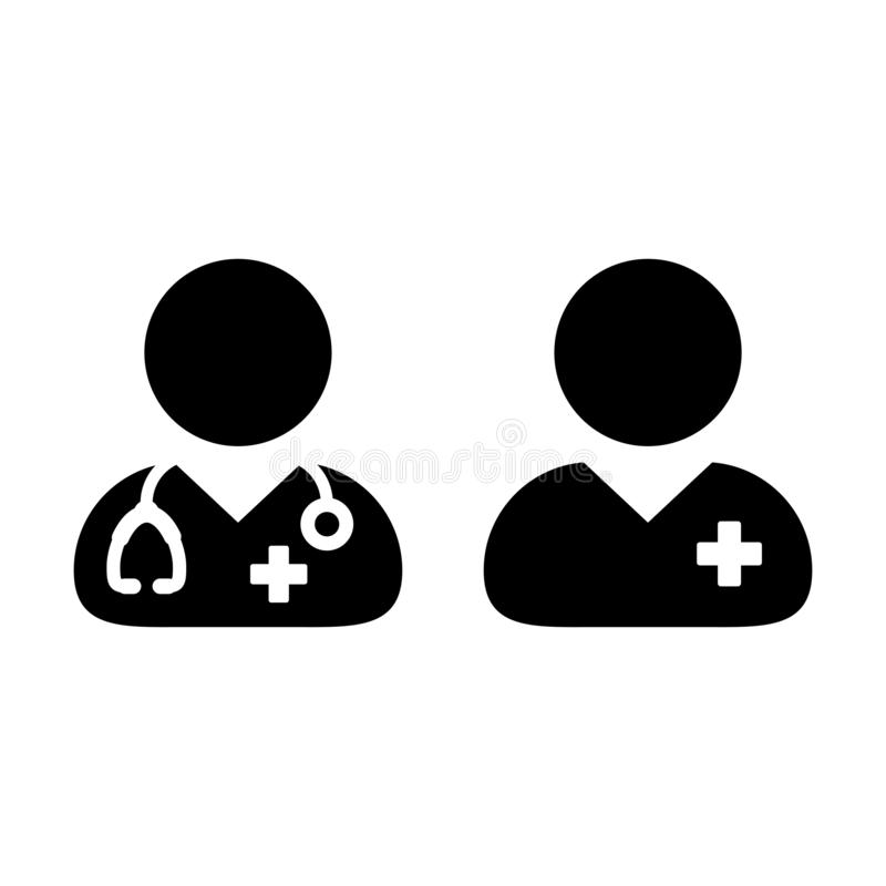 Medical icon vector male doctor and patient person profile avatar for treatment consultation in glyph pictogram. Illustration royalty free illustration