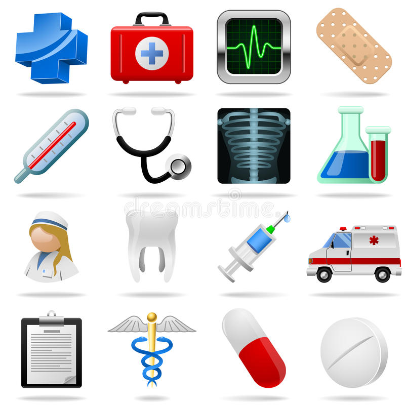 Medical icons. And symbols set isolated on white vector illustration