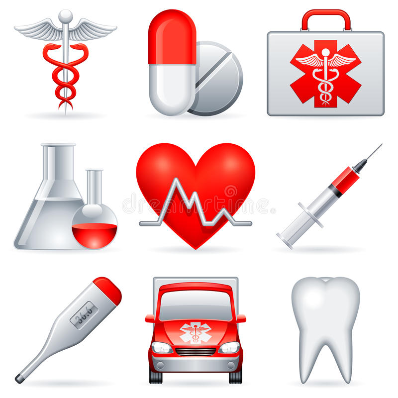 Download Medical icons. stock vector. Image of first, healthy - 15989571