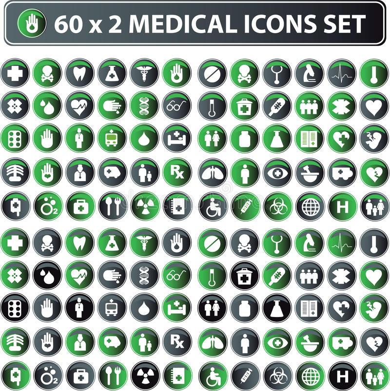 Medical icons, button web set royalty free illustration
