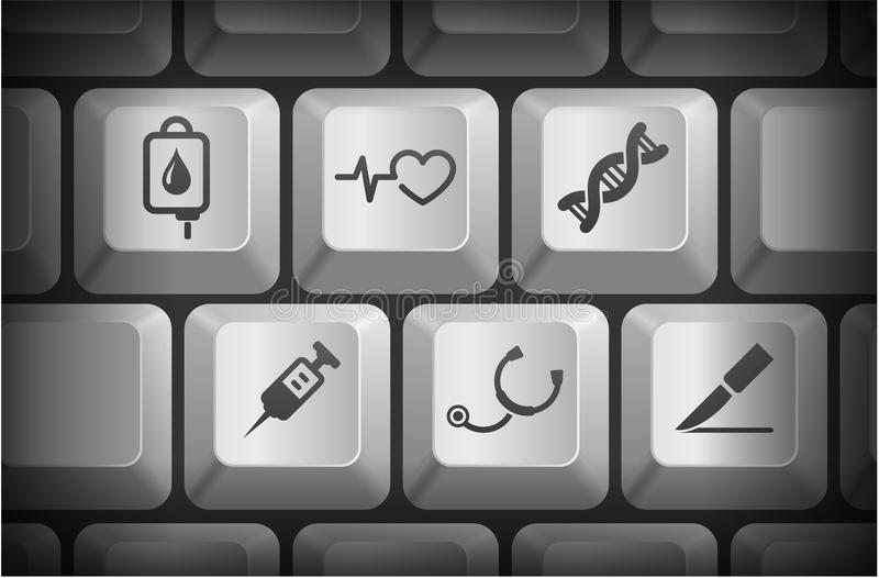 Medical Icons on Computer Keyboard Buttons royalty free illustration