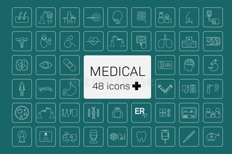 48 Medical icons royalty free illustration