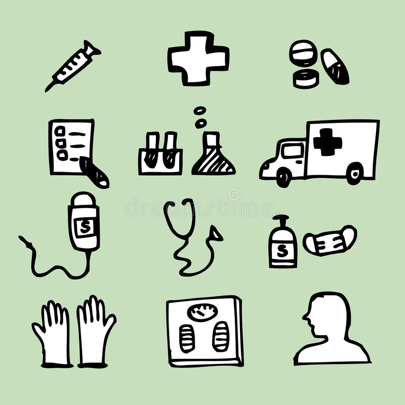 Medical Icons. Illustration of hand drawing of medical icons stock illustration