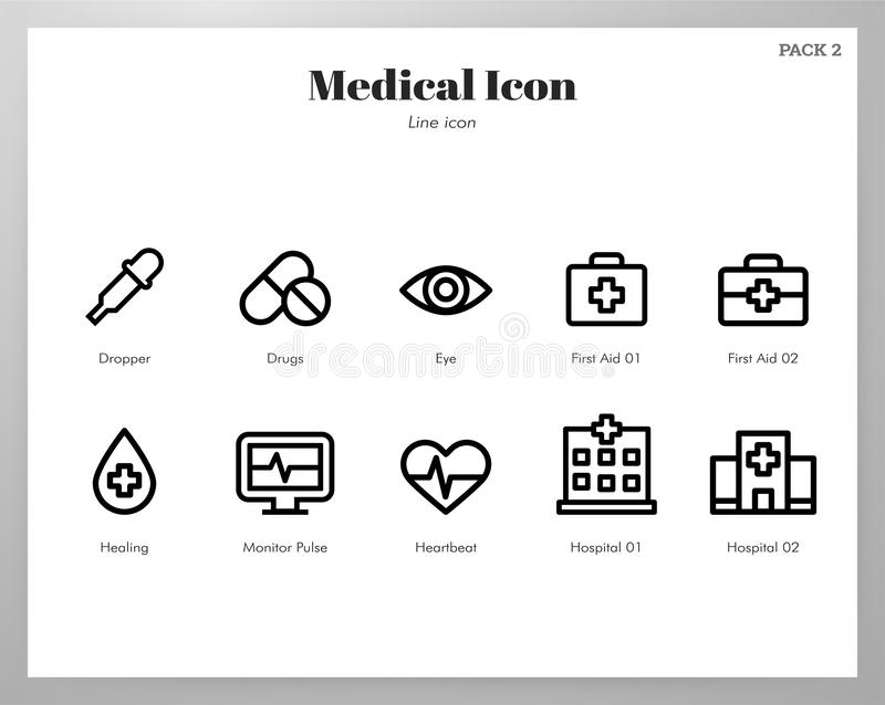 Medical icons Line pack royalty free illustration