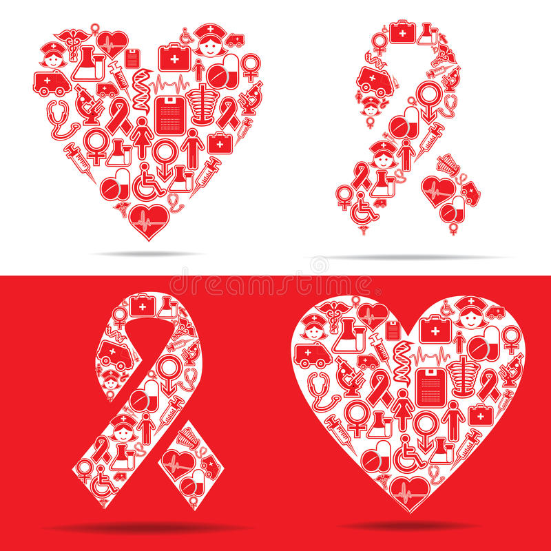 Free Medical Icons Make A Heart And Aids Shape Stock Image - 29703551