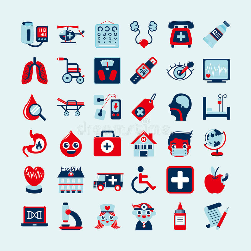 Download Medical icons set, stock vector. Image of clinic, retro - 34711350