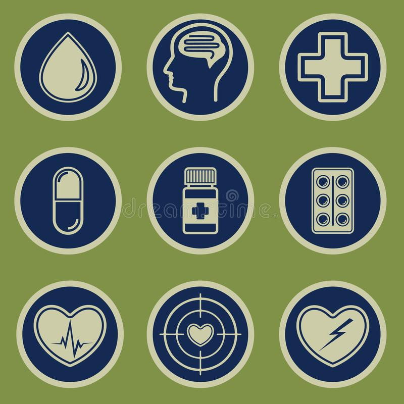 Medical icons set on a green background stock illustration