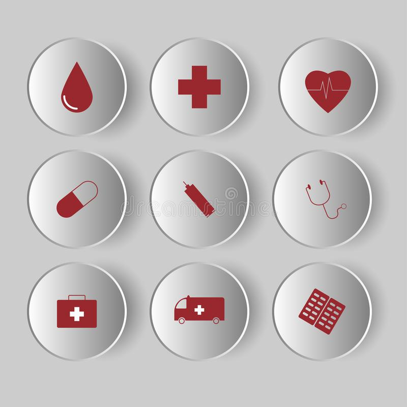 Medical Icons set on grey background. Healthcare signs for medical pharmacy concept royalty free illustration