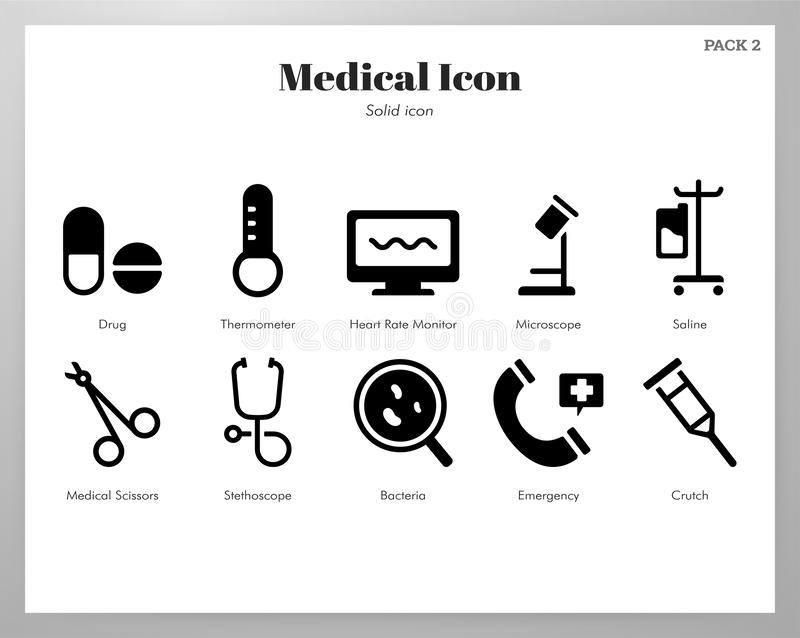Medical icons Solid pack vector illustration