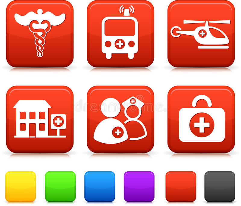 Medical Icons on Square Internet Buttons royalty free illustration