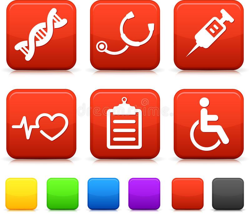 Medical Icons on Square Internet Buttons stock illustration