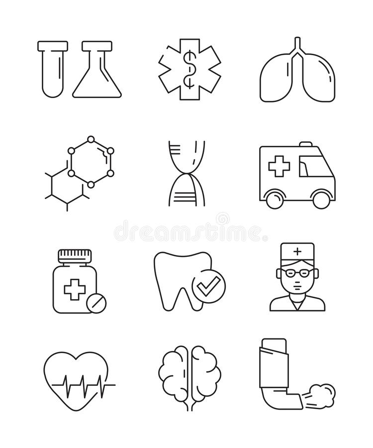 Medical icons. Surgery anatomy doctors disease vector healthcare vector line symbols. Illustration of icon set linear, science and medication royalty free illustration