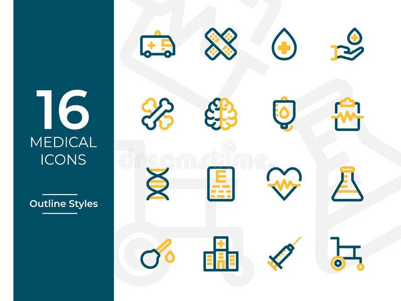 16 Medical Icons, Medical symbol. Modern Outline Icons with two tone colors vector illustration