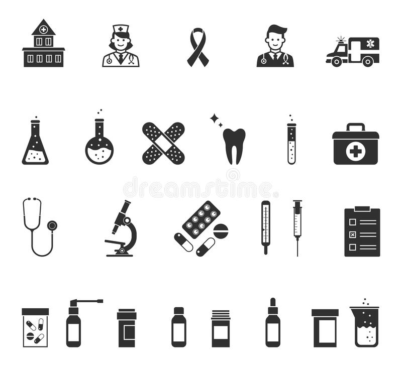 Medical icons. Vector health symbols in black color isolated on white background vector illustration