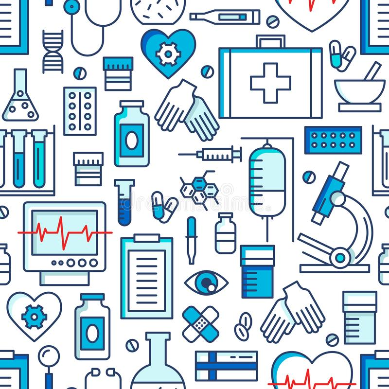 Medical icons vector seamless pattern. Health care sign collection. Medicine equipment silhouette illustration. Ambulance symbols royalty free illustration