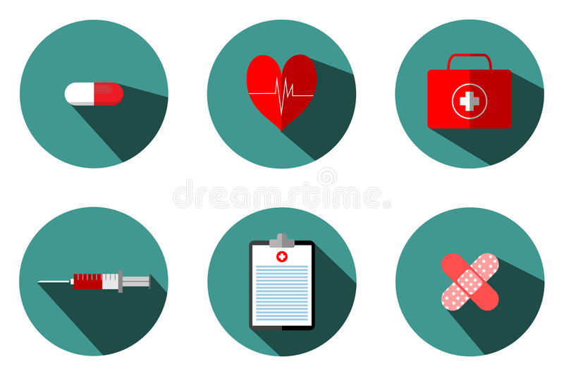Medical illustrations include: blood bags, test tubes, syringes, heart pumps. Pasteur first aid box, treatment table and medicine stock illustration