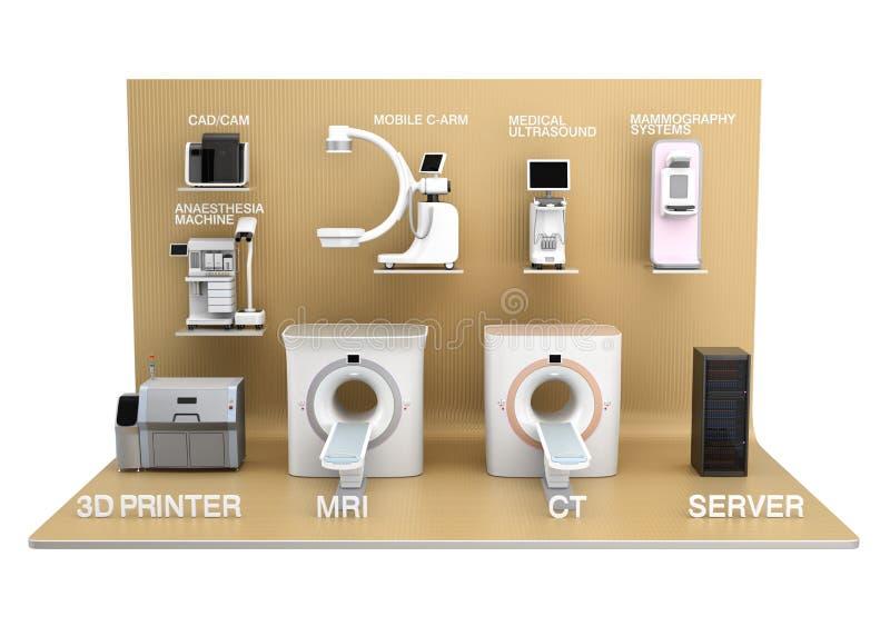 Medical imaging system on golden exhibition stage stock illustration