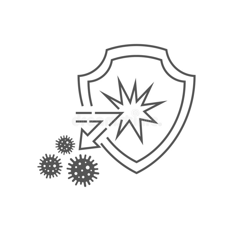 Medical immune shield reflects the attack of bacteria and viruses. The concept of the immune system, antibacterial protection. Health. Vector illustration vector illustration