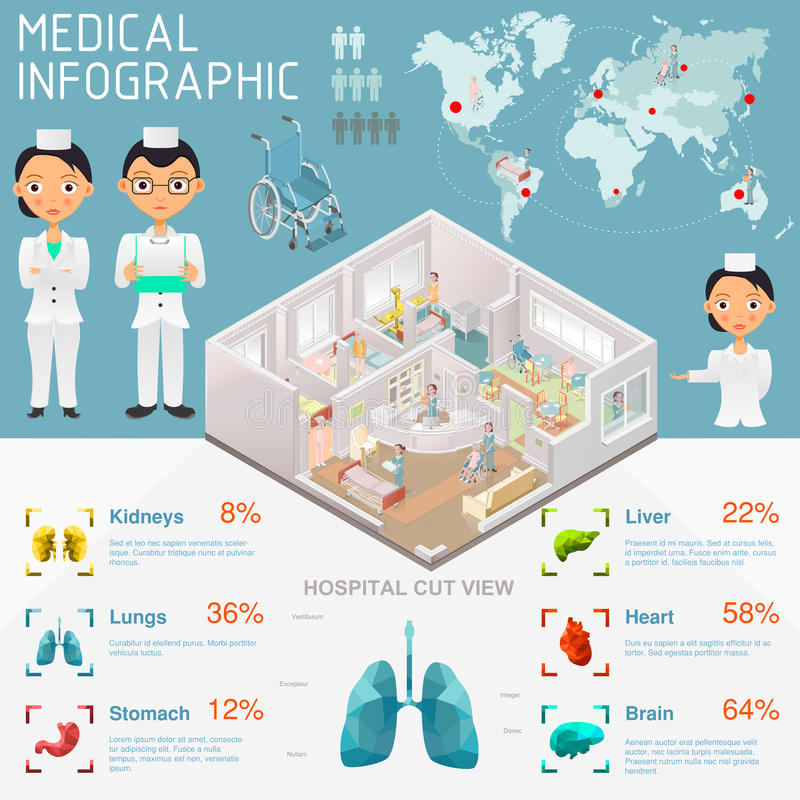 Medical Infographic. And Hospital sectional royalty free illustration