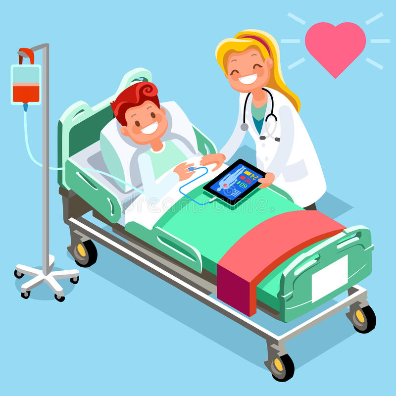 Medical Infographic Isometric People Cartoon. Doctor tablet and hospital technology vector illustration royalty free illustration