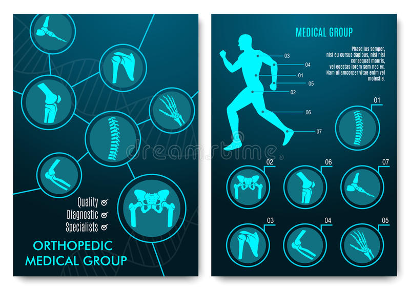 Medical infographic with orthopedic anatomy charts. Human silhouette in motion with marked spine, pelvis, knee, foot, shoulder, elbow, hand bones and joints royalty free illustration