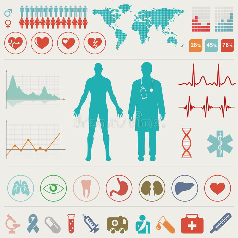 Medical Infographic set. Vector illustration royalty free illustration