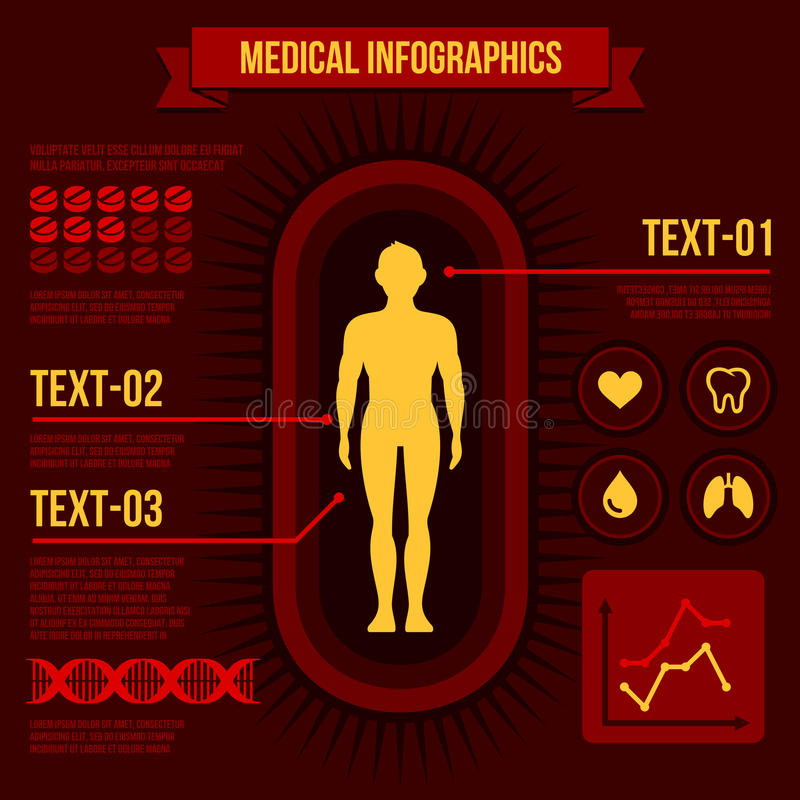 Medical Infographics. Human body with internal organs. Vector royalty free illustration