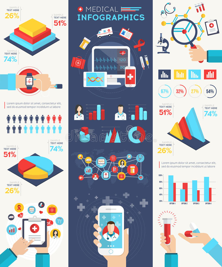 Medical infographics set. With charts and huge collection of medicine icons, signs and symbols. Vector detailed illustration concept in flat modern style with stock illustration
