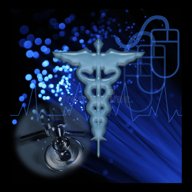 Medical Information Technology. Medical Technology Caduceus and Fiber Optic Cable with Stethoscope and Mouse in Blue stock illustration