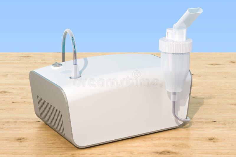 Medical inhaler, nebulizer on the wooden table. 3D rendering. Medical inhaler, nebulizer on the wooden table. 3D royalty free illustration