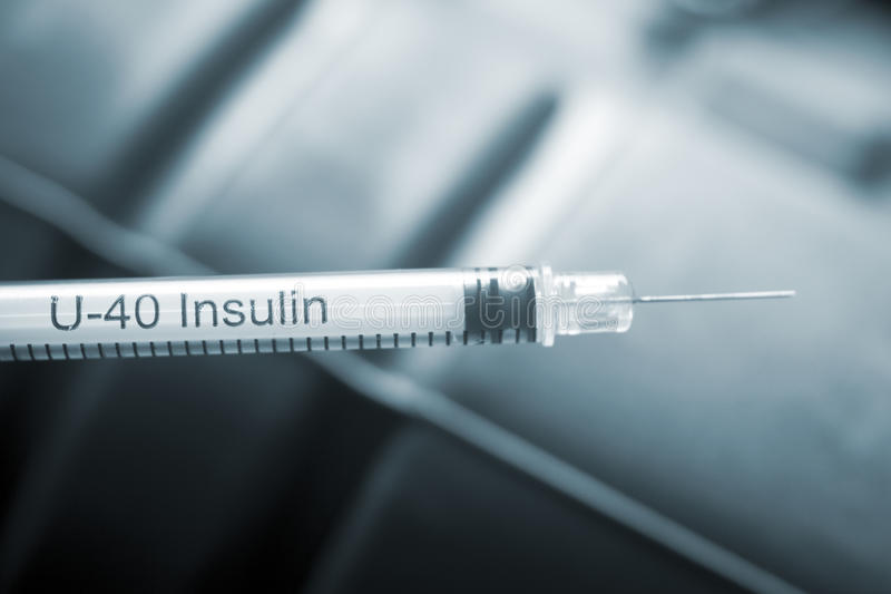 Medical injection syring needle. Medical injection syring hypodermic needle for insulin injections in diabetic patients and vaccines for vaccinations stock image