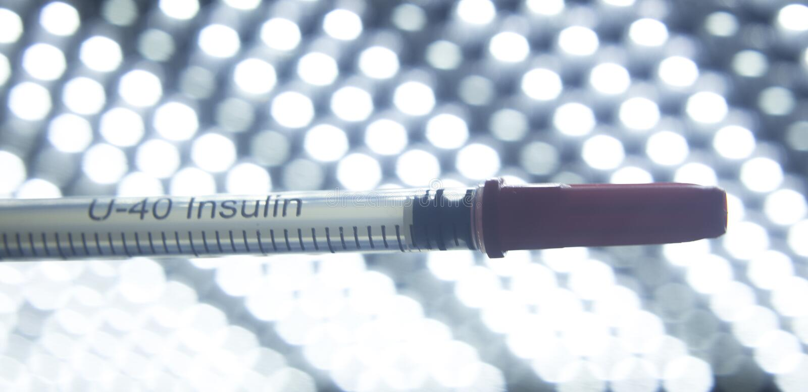 Medical injection syring needle. Medical injection syring hypodermic needle for insulin injections in diabetic patients and vaccines for vaccinations royalty free stock photography
