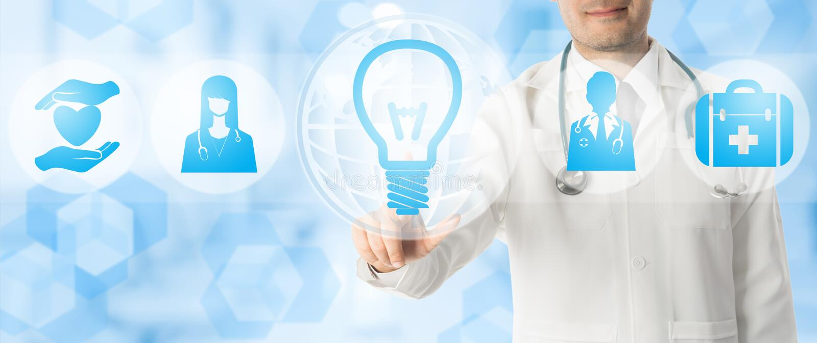 Medical Innovation Concept - Doctor with Lamp Icon royalty free stock photos