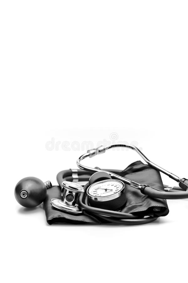Medical instrument Stethoscope blood pressure royalty free stock photos