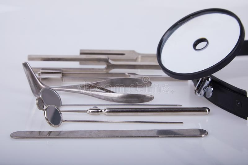 Set Of Medical Mirror Instruments For ENT Doctor  Stock
