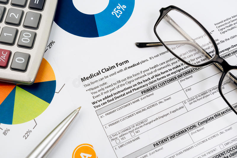 Medical insurance claim form. Picture stock images