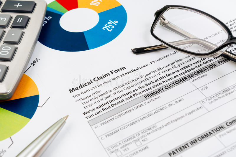 Medical insurance claim form. Picture royalty free stock photos