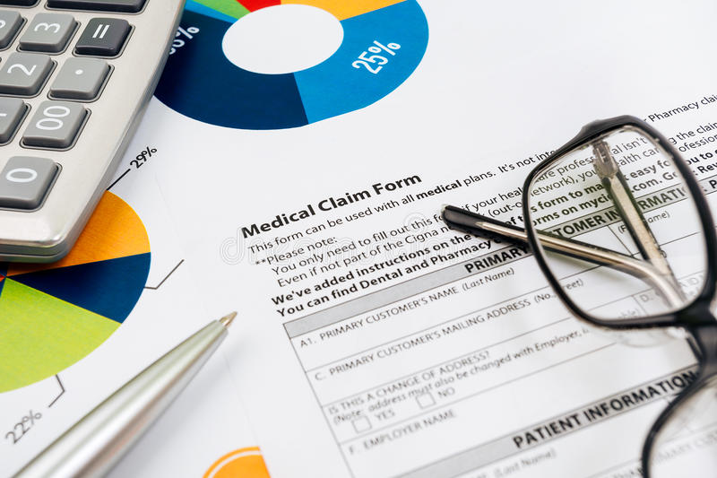 Medical insurance claim form. Picture stock photos