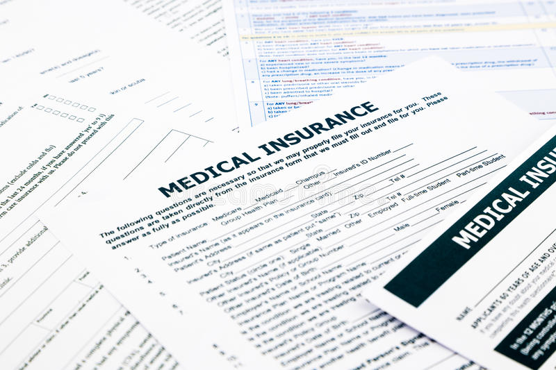 Medical insurance form,. Paperwork and questionnaire for insurance concepts royalty free stock photography