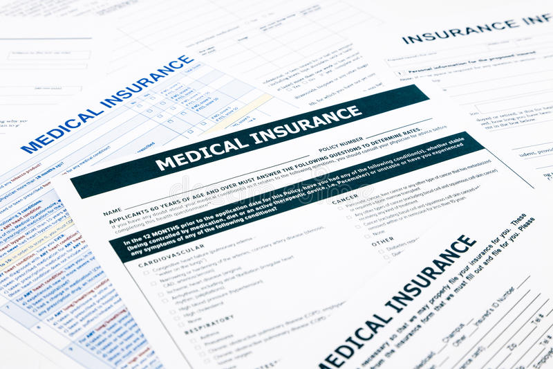 Medical insurance form,. Paperwork and questionnaire for insurance concepts royalty free stock image