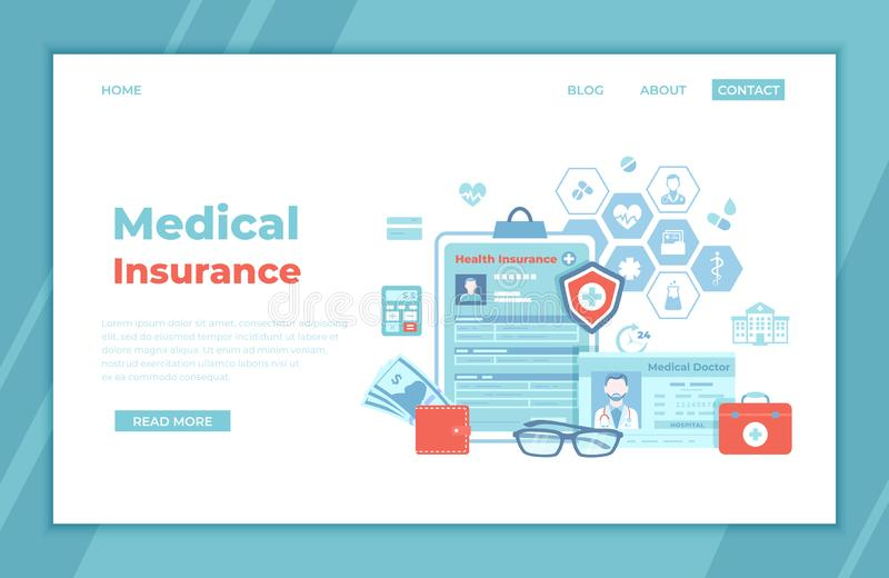 Medical Insurance, Healthcare, Support. Health  claim insurance form, medical card, doctor`s license, first aid kit, wallet. With money, calculator. landing royalty free illustration