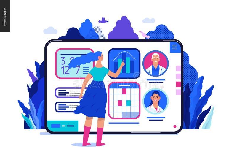 Medical insurance template - medical application. Medical insurance - medical application -modern flat vector concept digital illustration - female user managing vector illustration
