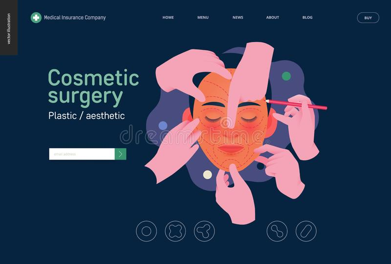 Medical insurance template - cosmetic, plastic, aesthetic surgery. Medical insurance -cosmetic, plastic, aesthetic surgery -modern flat vector concept digital vector illustration