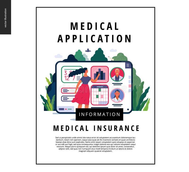 Medical insurance template - medical application. Medical insurance - medical application -modern flat vector concept digital illustration - female user managing stock illustration