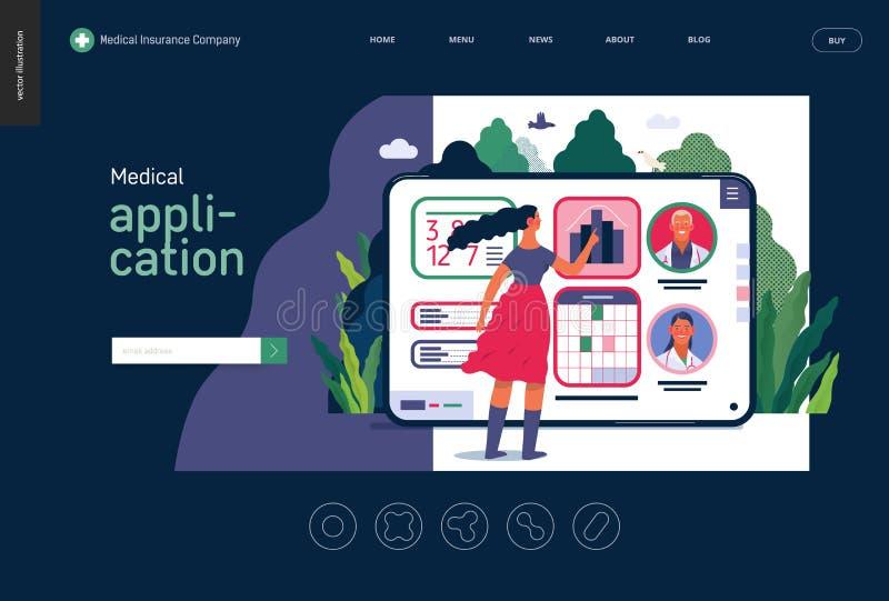 Medical insurance template - medical application. Medical insurance - medical application -modern flat vector concept digital illustration - female user managing royalty free illustration