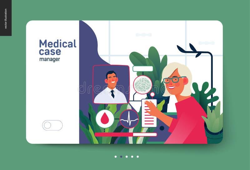 Medical insurance template - medical case manager. Medical insurance template -medical case manager -modern flat vector concept digital illustration of a manager royalty free illustration