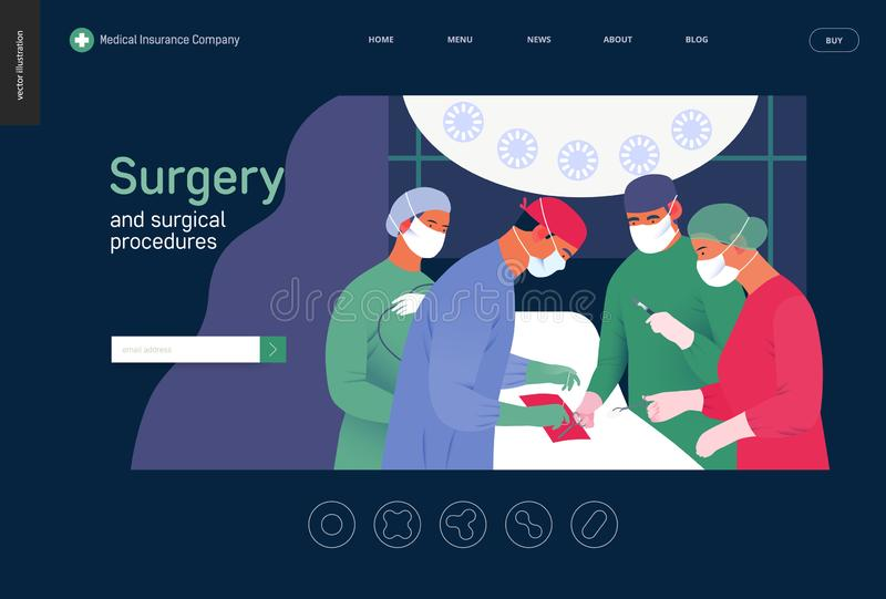 Medical insurance template - surgery. Medical insurance - surgery and surgical procedures -modern flat vector concept digital illustration - surgeons and stock illustration
