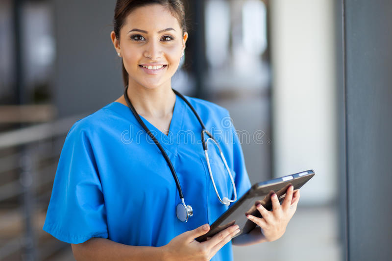 Medical intern tablet computer stock image